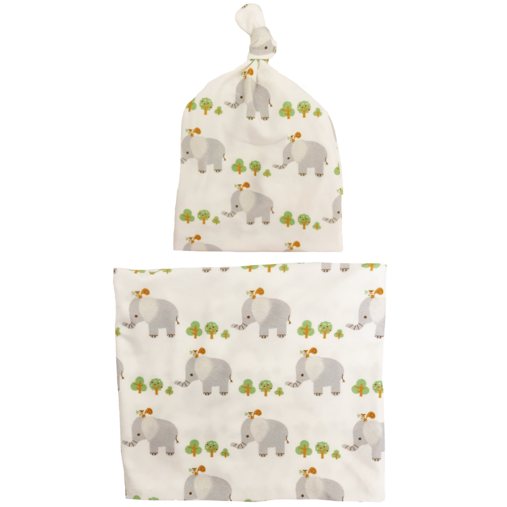 Baby Elephant Swaddle + Hat Set