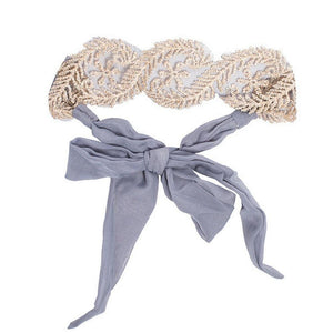 Grey Lace Tie - Headbands of Hope