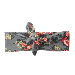 Grey Floral Knotted - Headbands of Hope