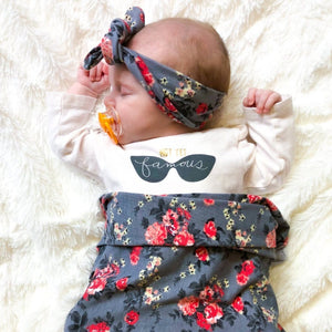 Grey Floral Swaddle + Headband Set - Headbands of Hope