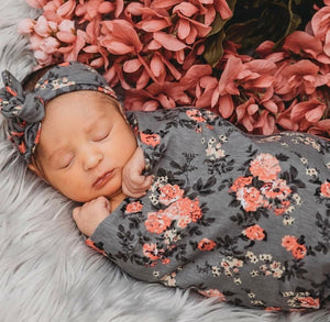 Grey Floral Swaddle + Headband Set