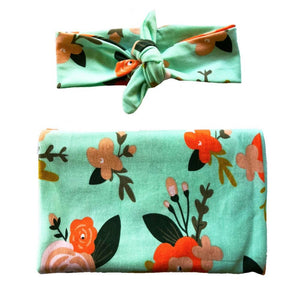 Mint Floral Swaddle + Headband Set - Headbands of Hope