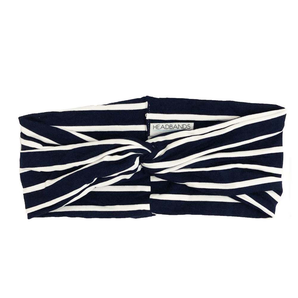 Navy Striped Twist Turban