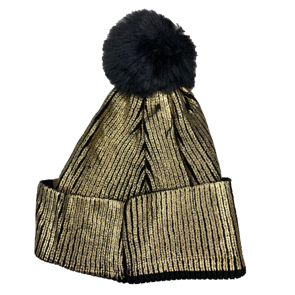 Metallic Gold Snap Pom Pom Beanie