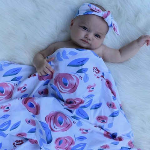 Pink Peony Swaddle + Headband Set - Headbands of Hope