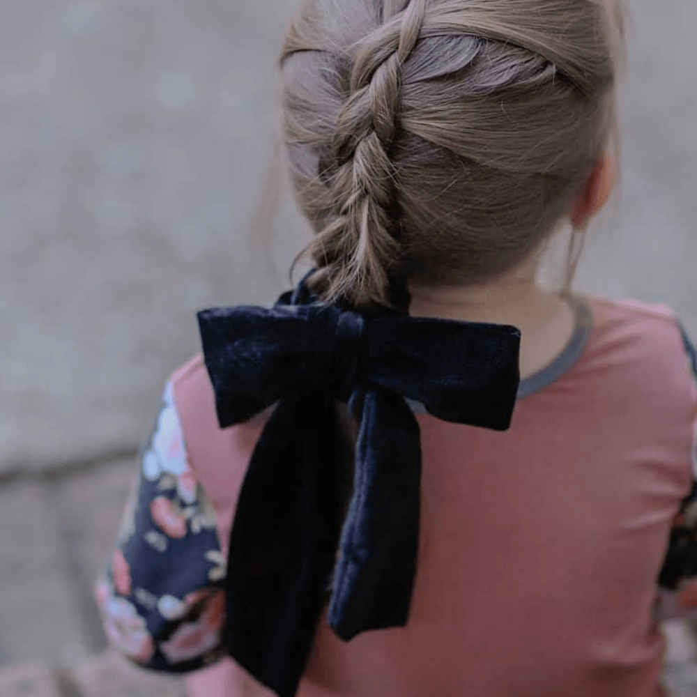 Black + Pink Velvet Bow Tie Scrunchie - Headbands of Hope