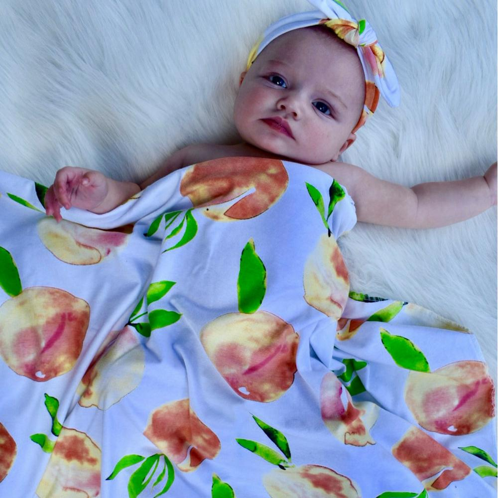 Sweet as a Peach Swaddle + Headband Set - Headbands of Hope