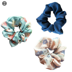 Navy Solid + Florals Scrunchie Set - Headbands of Hope