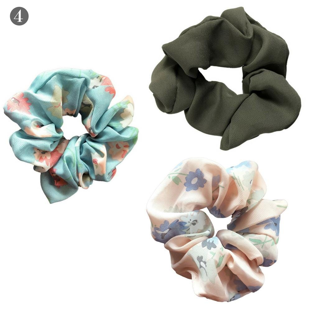 Olive Solid + Florals Scrunchies Set - Headbands of Hope
