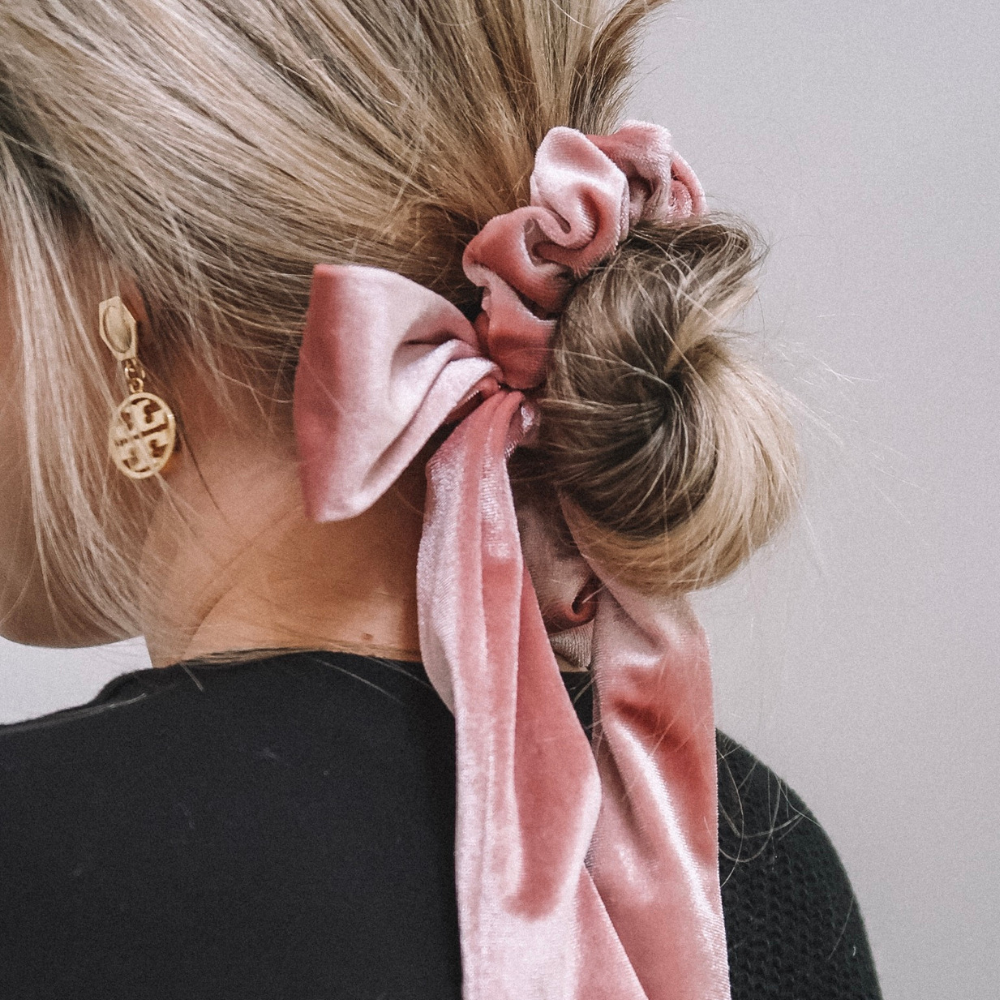 Pink + Green Velvet Bow Tie Scrunchie