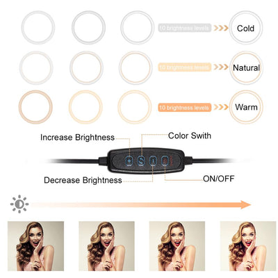 "LED Ring Stand - 10.2"" LED Camera Selfie Light Ring for iPhone/Android Tripod and Phone Holder"