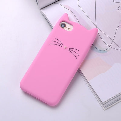 Cute Pink 3D Silicone Cartoon Cat Soft Phone Cases For iPhone - Daly Shop