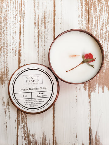 Orange Blossom & Fig 'True Love' Healing Crystal Candle