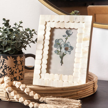 Scalloped Bone Photo Frame