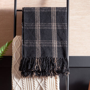 Black & Tan Cotton Blend Throw