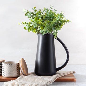 Black Stoneware Pitcher