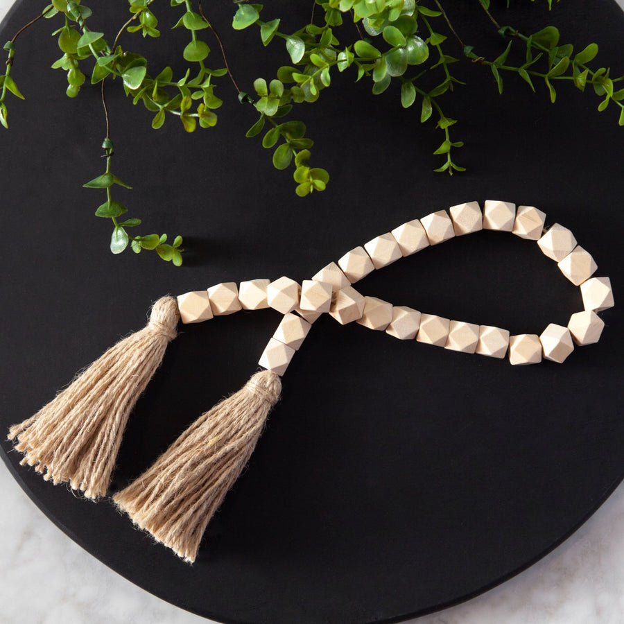 Geometric Bead Strand with Tassel