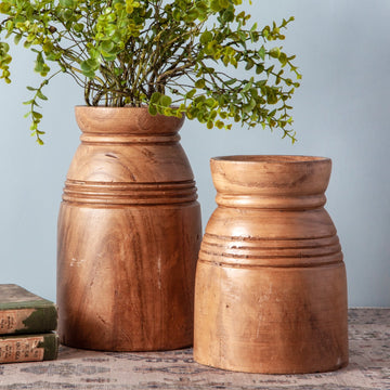 Hand Carved Wood Vase
