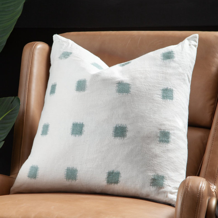 Sage Ikat Stitched Linen Pillow