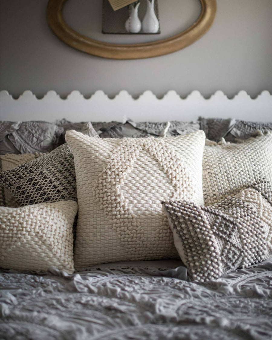Wool Knitted Ivory Pillow Cover