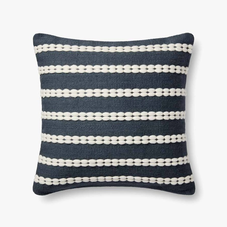 Navy & White Handwoven Pillow Cover