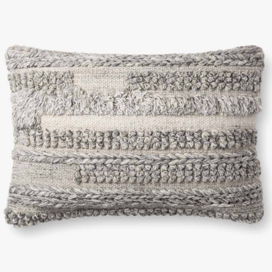 Grey Fringe Lumbar Pillow Cover
