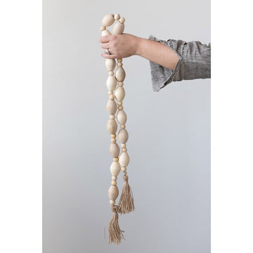 Mango Wood Bead Garland with Tassel Jumbo beads