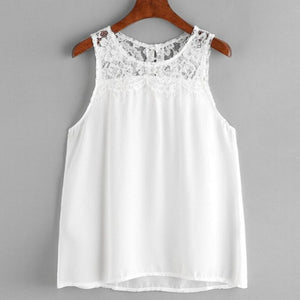 Sexy White Tank Tops 2017 Summer Women Sleeveless Crop Tops Vest Backless Halter Tank Tops O-Neck Blusa Sexy lace T-Shirt