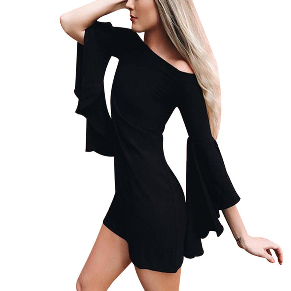 Flare Sleeve Autumn Dress Women Sexy One Shoulder Long Sleeve A-Line ukraine Mini Dress vestidos de festa