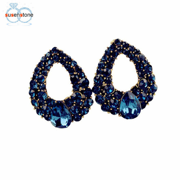 SUSENSTONE Elegant Women Vintage Style Fashion Rhinestone Stud Earrings