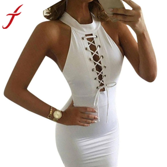 Women Sexy Bandage Dress Turtleneck Bodycon Sleeveless Cocktail Midi Length Celebrity Club Party Pencil White Dress Drop Ship