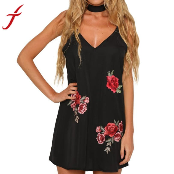 2017 Fashion Dress Women Sexy Appliques Rose Printing Sleeveless Strap V neck Camisole Swing Embroidery Mini Dress