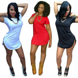 Sexy Women Tops Short Sleeve Side Slit Casual T Shirt Party Mini Dress