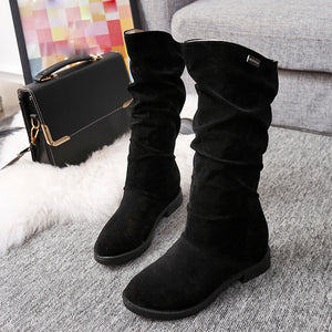Autumn Winter Boots Women Sweet Boot Stylish Flat Flock Shoes Snow Boots