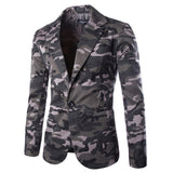 TANGNEST 2018 Camouflage Color New Design Spring Autumn Men Casual Blazer Hot Sale Fashion One Button Asian Size Suits MWX309