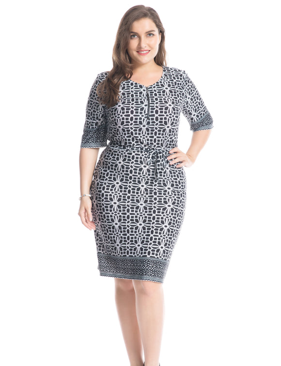 Chicwe Women's Plus Size Border Printed Dress with Zipped Round Neck and Waist Belt US16-26