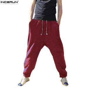 Men Loose Wide Leg Vintage Cotton Linen Trousers Solid Lantern Pants Casual Joggers Sweatpants Male Chinese Traditional Harajuku