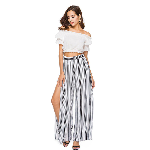 2018 Summer Women Elegant High Split Wide Leg Pants Chiffon Beach Trousers Striped Layered Cropped Loose Palazzo Pants