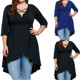 Plus Size Lady Women's Top Three Quarter Sleeve Shirt  High Low Hem Tops Blouse