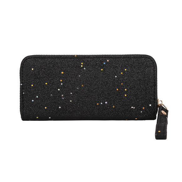 Women Wallet Long Multifunctional Portable Coin Purse Zipper Sequins Clutch Bag