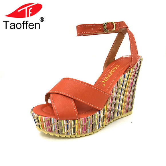 9057c8ca7dcf4 TAOFFEN women new wedge high heels fashion lady sexy heels sandals P1705  Hot style size 34