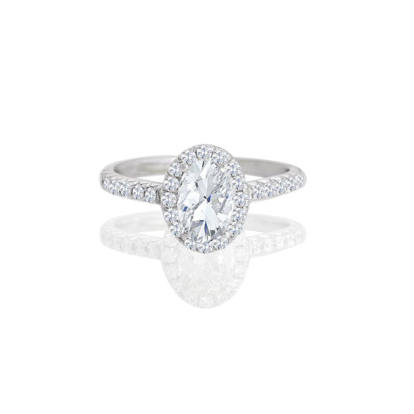 18K White Oval Halo Engagement Ring