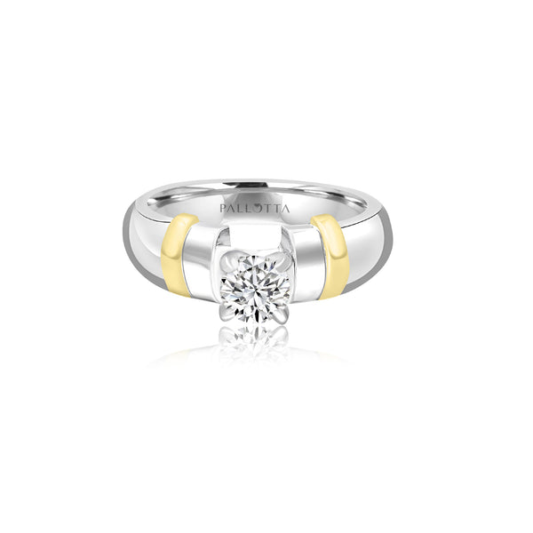 18K T-Tone Four Prong Round Stone Ring