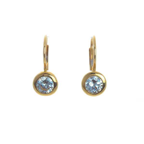 18K Yellow Gold Lever Back Cubic Melanie Earrings