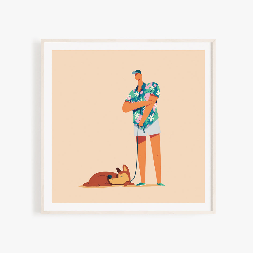 Photo of a wooden, square frame with a colorful illustration of of a husky dog and a man wearing a bright Hawaiian shirt