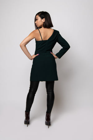 Mila One Shoulder Dress #Hunter Green