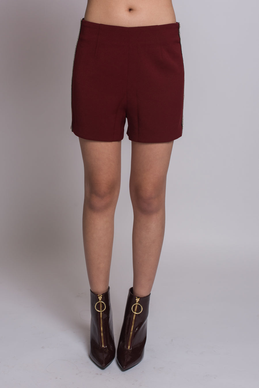 Honey High Waist Shorts #Burgundy