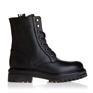 LEATHER ARMY LOOK BOOTS
