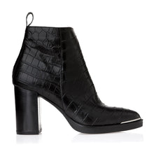 Load image into Gallery viewer, CROCO LEATHER ANKLE BOOTS