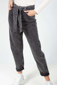 LEILA BLACK JEANS TROUSERS